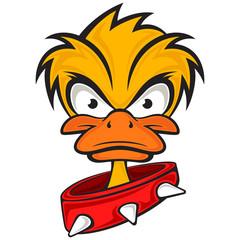 Cartoon evil face duck with collar. Vector eps 10