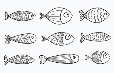 Set of vector stylized fishes. Collection of aquarium fish. Linear Art. Illustration for children. Fotoväggar