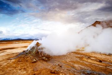 Great view geothermal area Hverir (Hverarond). Location place Lake Myvatn, Krafla, Iceland, Europe.