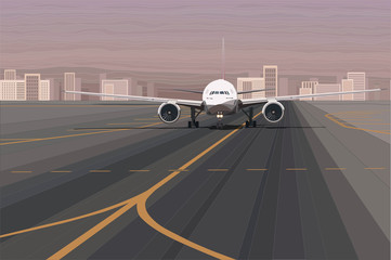 White passenger airplane on the airport runway vector illustration