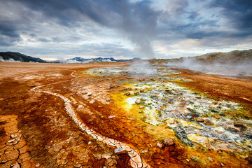 Ominous view geothermal area Hverir (Hverarond). Location place Lake Myvatn, Krafla, Iceland, Europe.