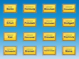 Ortsschilder - Landeshauptstädte von Deutschland