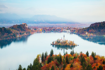 Aerial view of the island on alpine lake Bled. Location place Julian Alps, Slovenia, Europe.