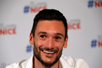France soccer team goalkeeper Hugo Lloris speaks during a news conference at the city hall in Nice