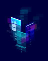 Mobile multicolor isometric user interface on dark blue background - developement concept