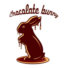 Chocolate hare melted with chocolate droplets, cartoon on white background,