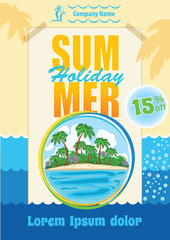 Sea Travel Flyer Design, Summer Holiday Template, Exotic Vacation vector advert, Summer Party promotion