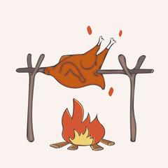 cartoon grilled chicken on bonfire