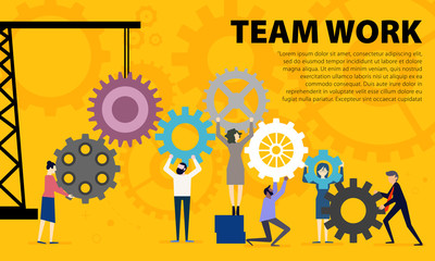 Business Teamwork Concept. Illustration of business people on cog wheel showing team work. Business on Cog Wheel. Teamwork graphic design. Gears wheels over yellow background.