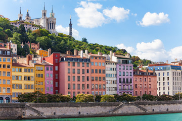 Color houses at the Saone river bank, Lyon, France