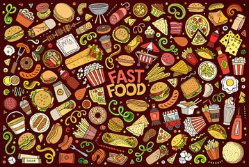 Fototapeta Vector set of Fast food objects and symbols obraz