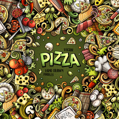 Cartoon vector doodles Pizza frame