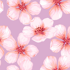 Seamless pattern with blossoming apple tree flowers on pink background. Elegance vintage endless texture in watercolor style .