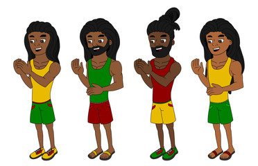 Cartoon rastas in colorful clothers