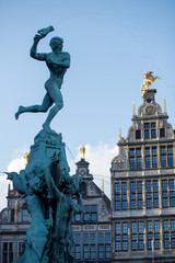 Antwerp mansions on central square of historic city center