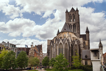 View of the St. Bavo Cathedral in Ghent, Belgium