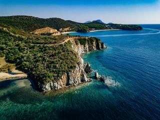 Aerial view of a rocky coastline Mediterranean Sea. Greece