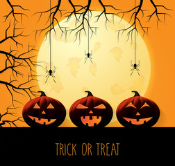 Halloween background with pumpkins and hanging spiders. Trick or treat. Handwritten text. Vector illustration.