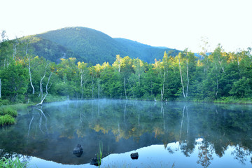 夜明けの霧立つ乗鞍まいめの池