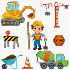 Vector illustration of a construction set. Set includes cute little boy, tools, construction transports and road sign. Vector little builder.