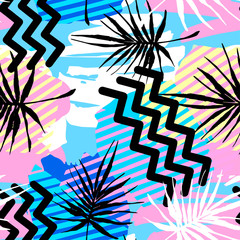 Seamless summer tropical leaves pattern, textile doodle grunge texture