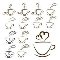 web icons coffee and tea set