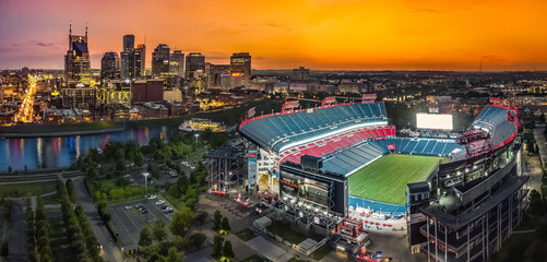 Fototapete - Nashville Skyline with stadium