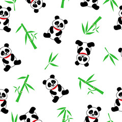 Seamless vector background with cute pandas and bamboo. seamless panda bears on a white background