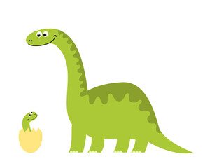 Funny illustration of a dinosaur mom with her newborn son