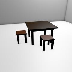 Стол и две табуретки на белом полу