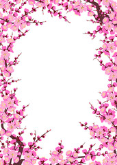 Plum Blossom Branches Vertical Frame