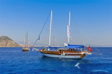 Kalymnos Island, Greece; 23 October 2010: Bodrum Cup Races, Gulet Wooden Sailboats