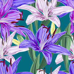 Floral seamless pattern,Lily flowers pink ,white,blue and purple  colors, on green background