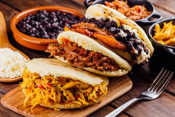 Latin American breakfast, Arepas with several ingredients.
