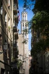 Barcelona narrow street scene on sunny day in Catalonia