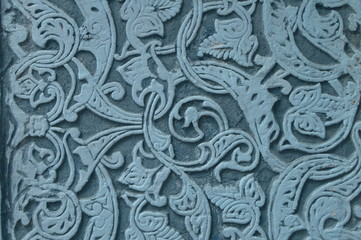 authentic decorative marble ornament-blue pattern on stone, Arabic style