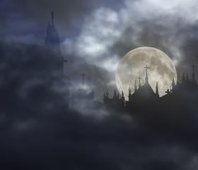 Creepy cemetery in a full moon night