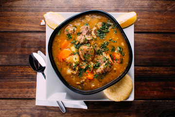Meat soup with vegetables