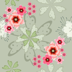 Flower decorative female pattern flowers pink shades on a gently green pastel background