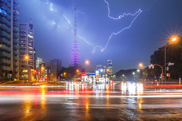 Thunderstorm on the busy street of Tokyo at night, Japan