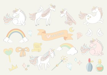 Vector collection of cute magic unicorns