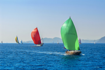 Bodrum, Turkey, 23 October 2010: Bodrum Cup Races, Gulet Wooden Sailboats