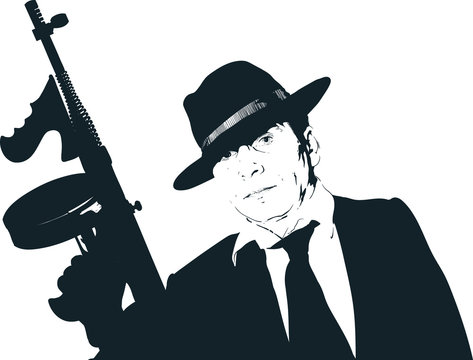 mafia guy with a gun