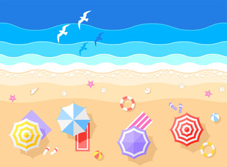 Sea and Beach Vector Illustration