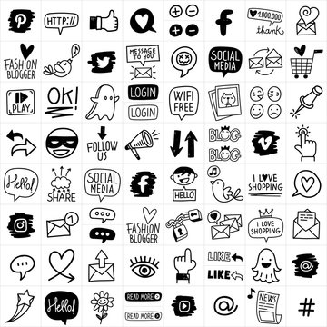 Hand Drawn Vector Social Media Icon Set