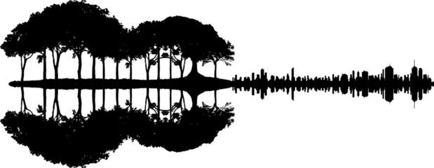 Foto auf Acrylglas Grau Verkehrs Gitarre - Wald Stadt Spiegelung