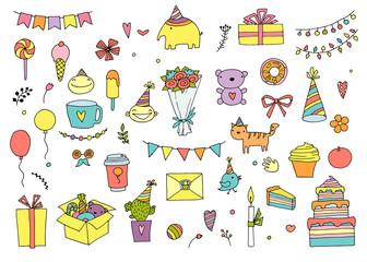 Hand Drawn Doodle Vector Happy Birthday Set.
