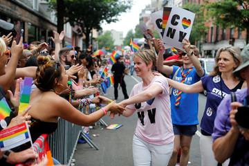 Former Sex and the City star and current candidate for governor of New York Cynthia Nixon shakes hands with spectators at the annual Pride Parade in New York City