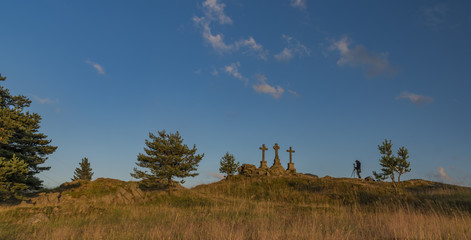 Slavkovsky les mountains in summer nice evening with photographer