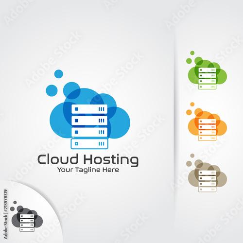 Web hosting logo design vector  Cloud, server and storage